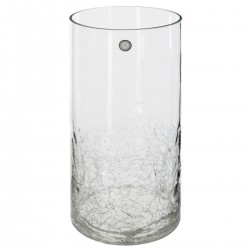 Vase cylindre craquelé à couleur H30cm - Transparent