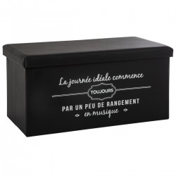 Pouf long pliable à citation 2 - Noir