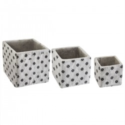 Lot de 3 cache-pots carrés en ciment usé COLLECT' MOMENTS - Gris