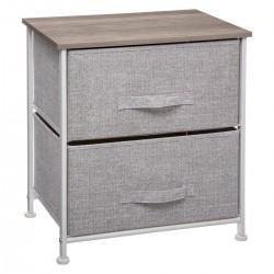Table de chevet 2 tiroirs paniers - Gris clair