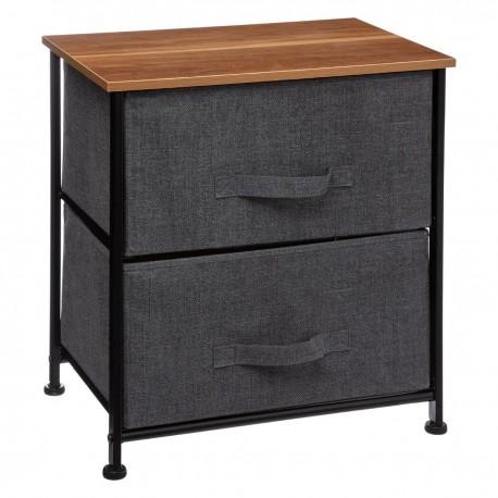 Table de chevet 2 tiroirs paniers - Gris foncé