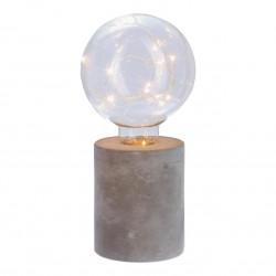 Ampoule microled sur socle rond en ciment H18cm - Gris