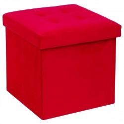 Pouf coffre pliable effet velours LYSANDRE - Rouge