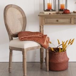 Chaise en bois blanchi CLEON CANAGE, ATELIER D'HIVER - Lin