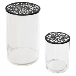 Lot de 2 vases à couvercle rosace en métal FLOWER FACTORY - Noir