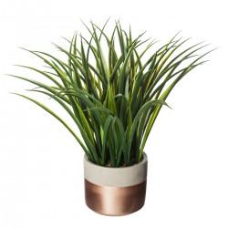 Plante verte artificielle en pot en ciment H70cm - Taupe