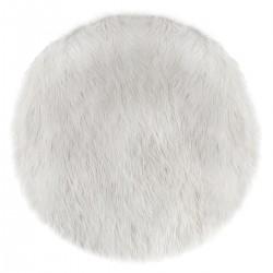 Tapis rond à fourrure D90cm DOUCEUR - Blanc
