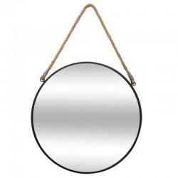 Miroir rond en métal avec corde D55cm - Noir