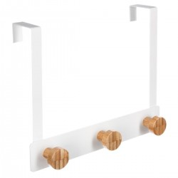 Patère de porte en bambou 3 têtes - Blanc
