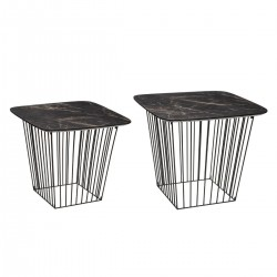 Lot de 2 tables d'appoint gigognes MARBLE - Noir