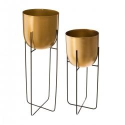 Lot de 2 pots avec support en métal - Doré