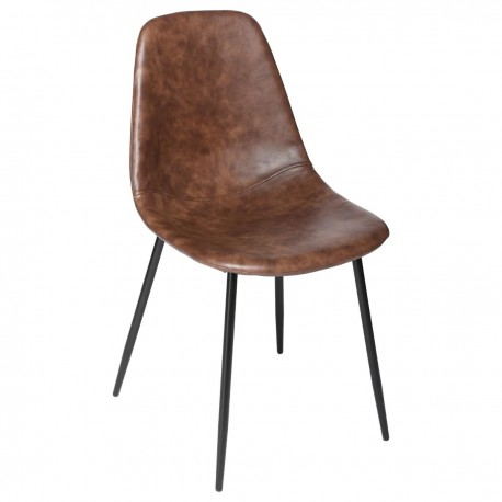 Chaise effet cuir VLADI, COLLECT' MOMENTS - Marron