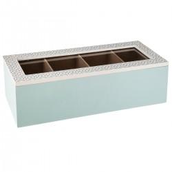 Boîte à thé 4 compartiments LA DOLCE VITA - Bleu clair