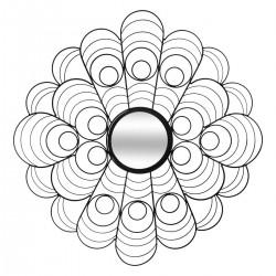 Miroir paon en métal D75cm - Noir