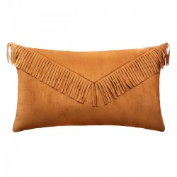 Coussin rectangle en suède à franges 30X50cm JUNGLE POP - Ocre foncé