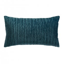 Coussin rectangle en velours plissé 30X50cm SLOW TIME - Bleu canard
