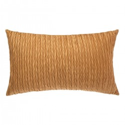 Coussin rectangle en velours plissé 30X50cm SLOW TIME - Ocre