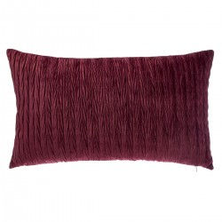 Coussin rectangle en velours plissé 30X50cm SLOW TIME - Rouge bordeaux