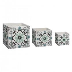 Lot de 3 cache-pots carrés en ciment à fleurs - Bleu