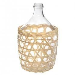 Vase en verre et rotin H38cm DAME JEANNE - Transparent