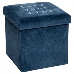 Pouf pliant en velours 38X38cm SLOW TIME - Bleu