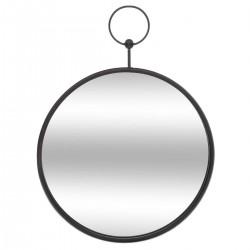 Miroir rond à gousset en métal D30cm - Noir