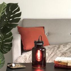 Lampe en verre teinté H29cm EDO, VINTAGE LOFT - Rouge
