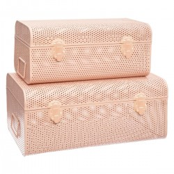 Lot de 2 cantines en métal perforé SLOW TIME - Rose clair