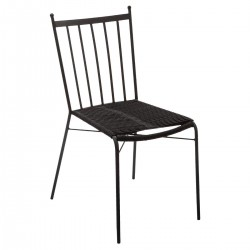 Chaise en métal assise en corde KIPOS - Noir