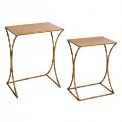 Lot de 2 tables d'appoint en métal ASCO - Marron