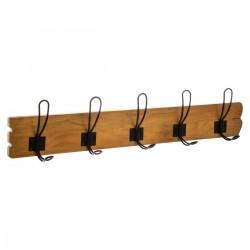 Patère en bois à 5 crochets en métal VINTAGE LOFT - Marron