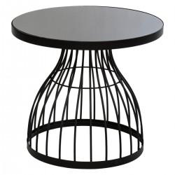 Table d'appoint en métal et verre trempé D55cm KUSHI, SLOW TIME - Noir