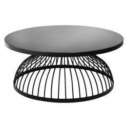 Table basse ronde en métal et verre trempé D90cm KUSHI, SLOW TIME - Noir