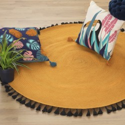 Tapis rond en coton à pompons D120cm JUNGLE POP - Ocre