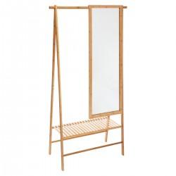 Portant à vêtements en bambou avec miroir GAIA - Naturel
