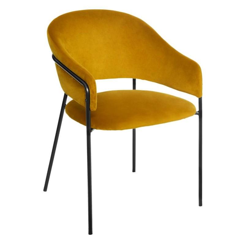 fauteuil en velours siron slow time  jaune moutarde