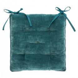 Galette de chaise en velours coton 38X38cm - Bleu