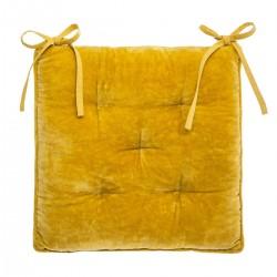 Galette de chaise en velours coton 38X38cm - Jaune moutarde