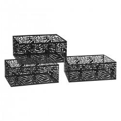 Lot de 3 caisses cagettes ajourées JUNGLE POP - Noir