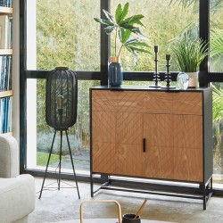 Buffet ORIA, SLOW TIME - Noir et effet bois avec motif