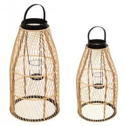 Lot de 2 lanternes en bambou DIAG, SLOW TIME - Beige