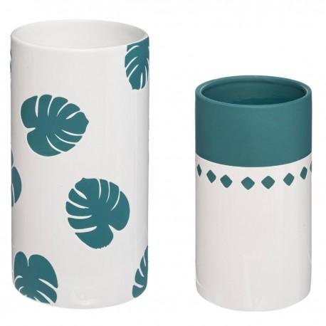 Lot de 2 vases JUNGLE POP - Bleu