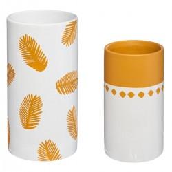 Lot de 2 vases JUNGLE POP - Jaune moutarde