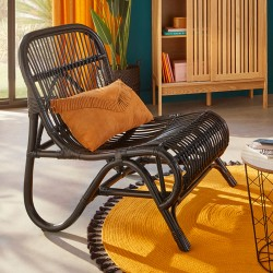 Fauteuil en rotin TAMARA, JUNGLE POP - Noir