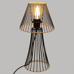 Lampe en métal et détail en rotin H38,5cm BENETT, JUNGLE POP - Noir