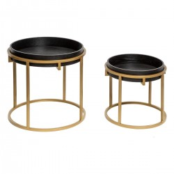 Lot de 2 tables à café rondes structure dorée JUNGLE POP - Noir