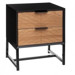 Table de chevet ORIA, SLOW TIME - Noir et effet bois avec motif