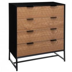 Commode à 4 tiroirs ORIA, SLOW TIME - Noir et effet bois avec motif