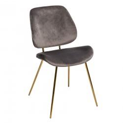 Chaise en velours pieds doré SLOW TIME - Gris