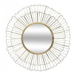 Miroir fleur en métal D67cm - Doré